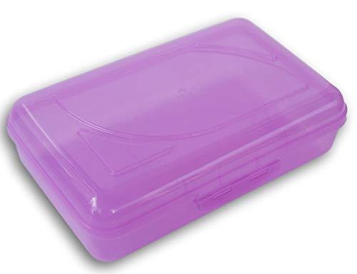 Snap-Closed Neon Pencil Case Box (Purple)