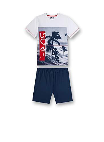 Sanetta Jungen Pyjama kurz Zweiteiliger Schlafanzug, Weiß (weiß 10), (Herstellergröße:128)