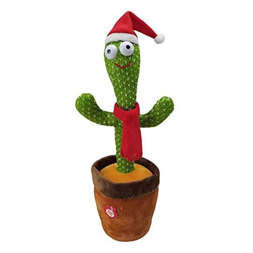 Flor eléctrica retorcida, luz LED, Baile electrónico, Flor Encantadora, Juguete de Cactus, 120 Canciones en inglés, Sombrero de Vaquero + Bufanda