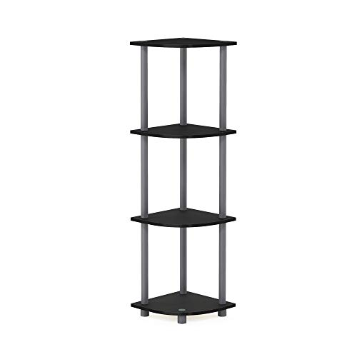 Furinno 4-Tier Corner Display Rack Bookcase Shelving Unit, Wood, Black and Grey, one size