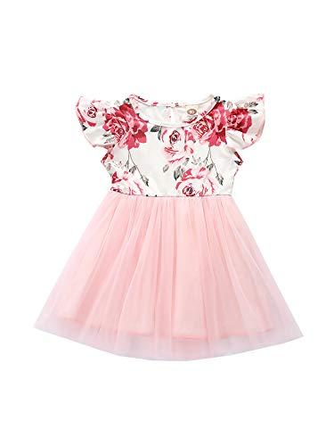 Vestido de malla para niñas, vestido de tutú de princesa con estampado floral para niños de verano