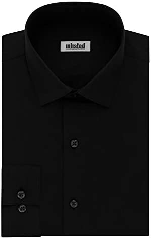 Kenneth Cole Unlisted Men s Dress Shirt Big and Tall Solid Black 20 Neck 37 38 Sleeve product image