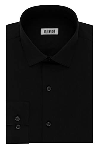 Kenneth Cole Unlisted Men's Dress Shirt Big and Tall Solid , Black, 19' Neck 34'-35' Sleeve
