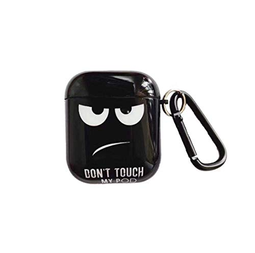 Airpod Case, [Don't Touch My POD] Hard PC Protective Skin Airpod 1&2 Designer Skin Kawaii Funny Fun Keychain Ring Design Cover Airpod Cases for Kids Teens Girls Boys (Black)