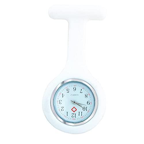 Runfon Broche Mujeres Bolsillo Duradero Reloj analógico Reloj Reloj de Cuarzo de Silicona Clip de Bolsillo Fob Médica Azul Reloj Enfermera