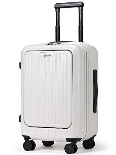 Roam.Cove 拡張 スーツケース 軽量 機内持ち込み キャリーケース キャリーバッグ 静音 ビジネス フロントオープン 日乃本キャスター TSAロック 出張 シンプル おしゃれ RC-SU058 (NEW ホワイト-最適進化, 約39L(拡張時),2