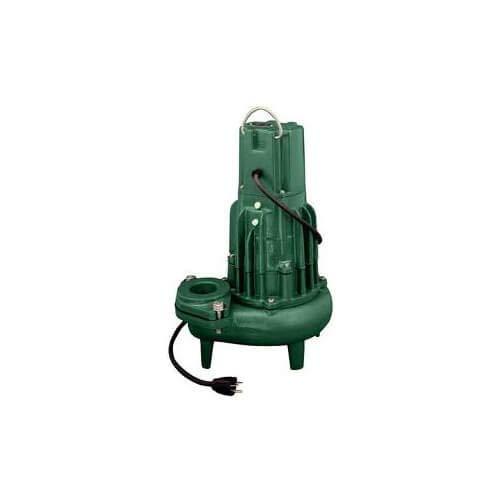 Zoeller Flow-Mate D186 2' Single Seal Series Effluent Sump Pump - 1.5 HP, 20 Ft Cord