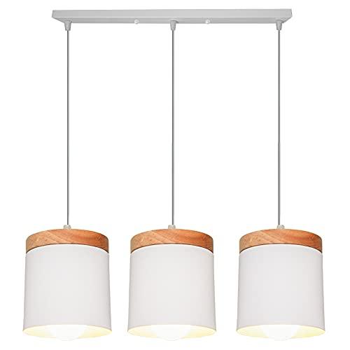 Lámpara Colgante de Madera Metal E27 Lamparas Techo Comedor Habitacion Luz de Techo del LED Lámpara de Techo Interior 60W (Blanco, Techo rectangular)