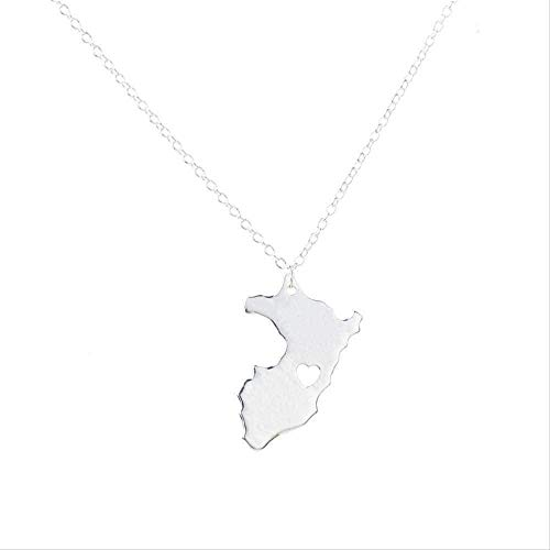NC198 Collar Esquema Mapa de Perú con corazón Collar País Perú Mapa Colgante Collar Mapa Joyería