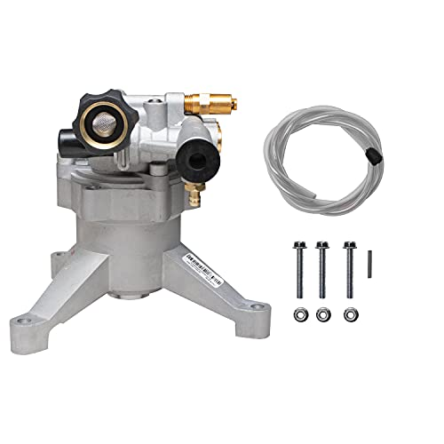 """OEM Technologies 90026 Vertical Axial Cam Replacement Pressure Washer Pump Kit, 3100 PSI, 2.4 GPM, 7/8"""" Shaft, Includes Hardware and Siphon Tube, for Residential and Industrial Gas Powered Machines, Silver"""
