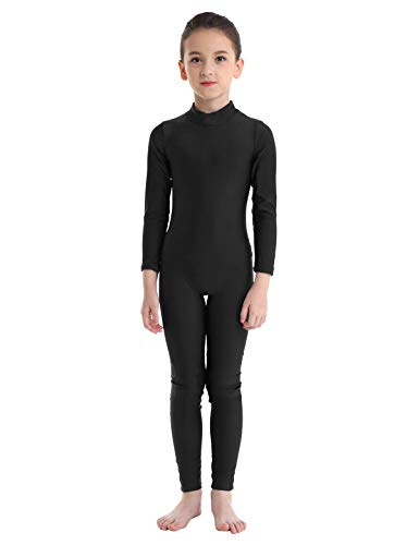 MSemis Maillot Entero de Ballet Gimnasia para Niños Niñas Mono Completo Danza Leotardo Clásico Manga Larga Jumpsuit Yoga Deporte Negro 10-12 Años
