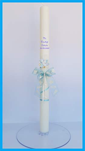 FIESTADEKOR Vela (CIRIO) para Bautizo DE Cera Blanca. Medida 3 x 40CM Decorada con Pick Floral CARITAS Y Lazo Azul (Personalizada)