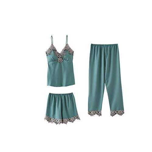 Conjunto De Pijama De SatéN De Encaje para Mujer, Conjunto De CamisóN con Cuello En V, Camisones, Ropa De Dormir para El Hogar, CamisóN De Primavera