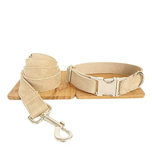 Haowen Conjunto de Collar con Correa para Perro Traje de Terciopelo Grueso con cordón para Mascotas Super Suave y Duradero Camel M