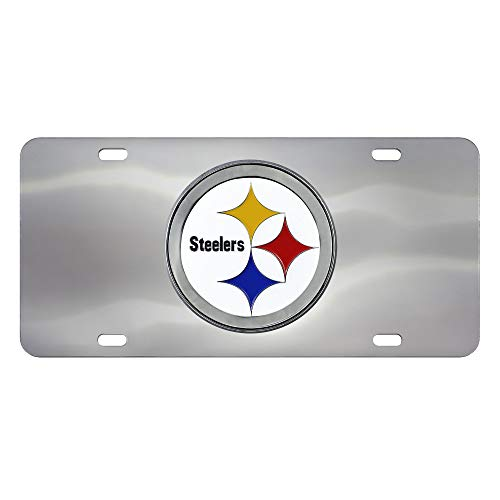 FANMATS NFL Pittsburgh Steelers Unisex Pittsburgh SteelersLicense Plate, Chrome, 6'x12'
