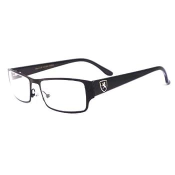 KHAN Designer Smart Metal Full Rim Frame Clear Lens Eye Glasses Rx BLACK/BLACK