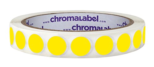 ChromaLabel 1/2 Inch Round Removable Color-Code Dot Stickers, 1000 Labels per Roll, Yellow