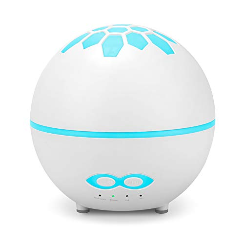 HOMEWEEKS 400ml Essential Oil Diffusers, Aromatherapy Diffusers with 7 Color LED Lights, Remote Control, BPA-Free, Waterless Auto-Off, Ultrasonic Cool Mist Humidifiers for Home Bedroom