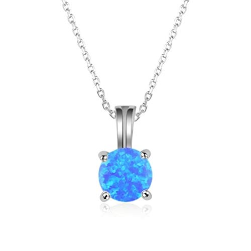 Popular Jewelry Four-claw Round Artificial Opal Pendant Necklace Girl Party Charm Accessories Fashion Jewelry Birthday Gift
