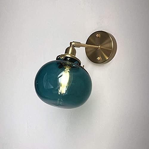 Vintage Industrial 1 Beleuchtung Wand Leinwand Licht Runde Farbe Glas Globus Schatten mit verstellbarem Armwinkel Wandleuchte für Badezimmer, Schlafzimmer, Korridor,...