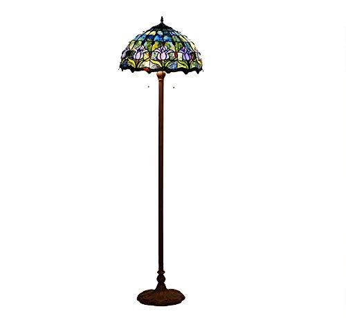 ZYLE Lámpara de pie Sala de Estar Sala de Estudio Blue Tulip Glass Iluminación Creativa