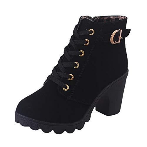 Stiefel Damen Mit Absatz Blockabsatz Frauen High Heels Stiefeletten 8 cm Schnüren Schnalle Zipper Reißverschluss Winter Plateauschuhe Schwarz 40 EU