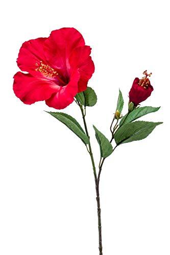 artplants.de Hibiskus Kunstblume OAHU mit Blüten, rot, 65cm - Hibiskus künstlich/Hibiscus Zimmerpflanze Deko