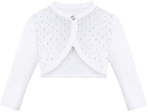 Lilax Baby Girls' Knit Long Sleeve One Button Closure Bolero Shrug 3-6 Months White