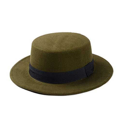 JOYOTER Gorra de mujer retro plana con ala ancha Fedora sombrero Bowler Derby con banda verde Talla nica