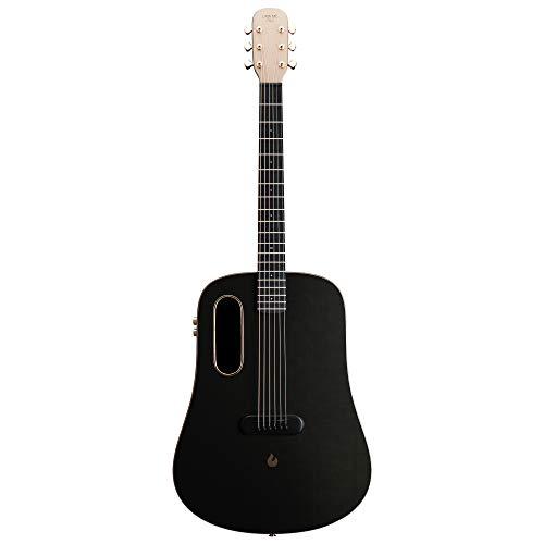 LAVA ME PRO Kohlefaser Gitarre mit Effekten Professionelle Akustische Elektrische Gitarre mit Case Pick und Aufladekabel (FreeBoost, Schwarzes Gold, 41 Zoll)