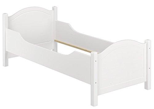 Erst-Holz® Seniorenbett extra hoch waschweiß 100x200 Massivholz Holzbett Einzelbett Gästebett 60.40-10 W oR