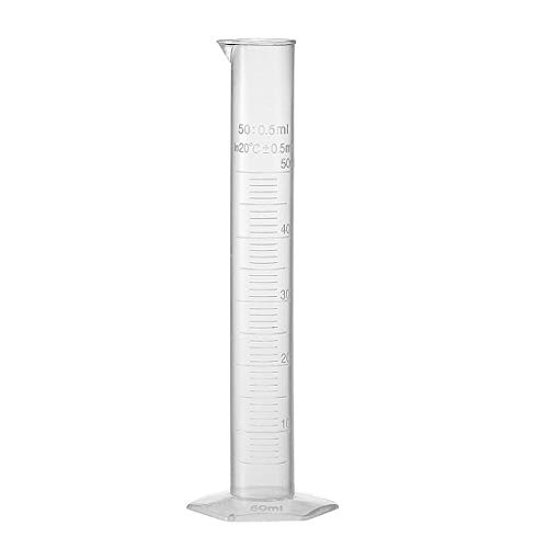uxcell Plastic Graduated Cylinder, 50ml Measuring Cylinder, Science Test Tube Beakers, Single Metric Scale, Hex Base Flask for Juice Lab Home