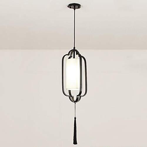 HSCW Forjado de hierro chino colgante de la lámpara de la lámpara de la sala comedor Habitación pantalla de tela Lámpara Art Restaurant Estudio lámpara de techo Gazebo La simplicidad de una so