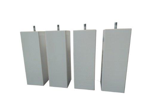 Hévéa Sélection Jeu de 4 Pieds Bois carré Silver 20 cm 70 x 70 PDSCARRE20S