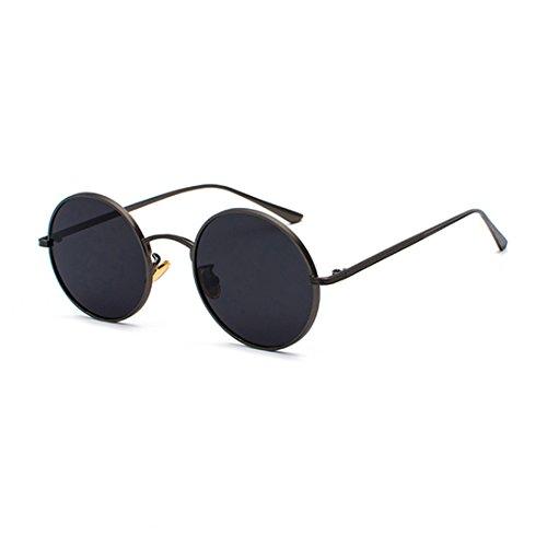 Inlefen Runde Metallrahmen Gläser Vintage Kreis Sonnenbrille für Männer und Frauen,Schwarzgrau,57