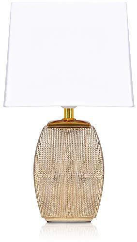 BRUBAKER Tischlampe Nachttischlampe - 38 cm - Gold - Keramik Lampensockel - Schirm Weiß