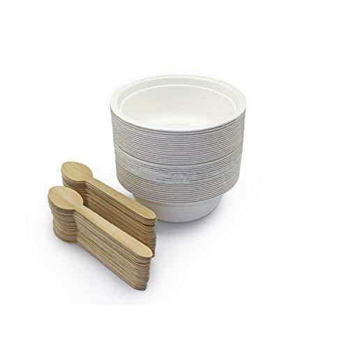 Silverkitchen 150er BIO Zuckerrohr Schalen Set | 50x Einwegschalen weiß rund 500ml & 100x Holzlöffel 16cm | natürliches Einweggeschirr 100% kompostierbar | Partyteller für Suppen Salate