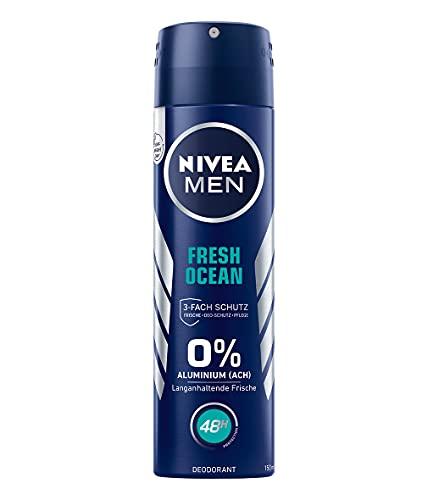NIVEA MEN Fresh Ocean Deo Spray (150 ml), Deo ohne Aluminium (ACH) mit 48h Schutz, Deodorant mit NIVEA MEN Pflegekomplex und antibakteriellen Wirkstoffen