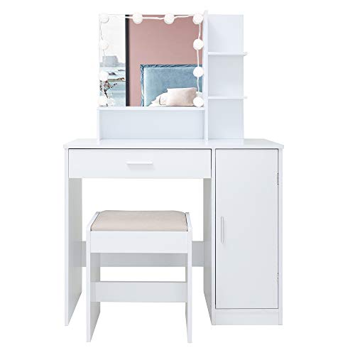 USIKEY Vanity Set with 10 Light Bulbs, Makeup Table Vanity Dressing Table, 1 Large Drawer, 1 Storage Cabinet,1 Cushioned Stool for Bedroom, Bathroom,White