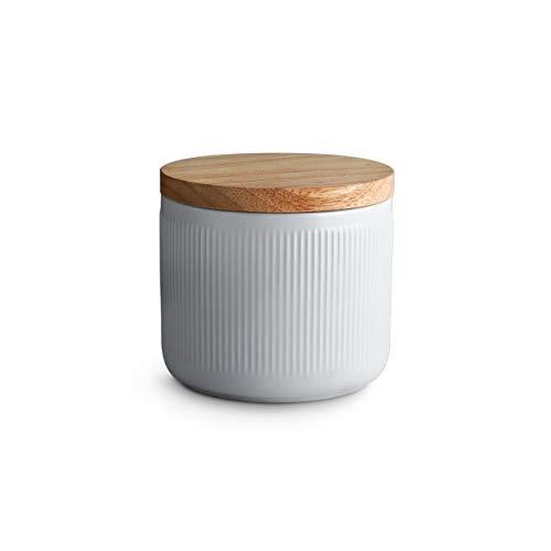 Keramik Vorratsdosen mit Holzdeckel Stripes, Kautschukholz-Deckel, Aufbewahrungsdosen, Frischhaltedosen - 10,1 x 9,3 cm hellgrau/weiß