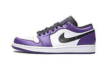 Jordan Mens Air 1 Low Court Purple - Court Purple/Black-White 553558 500 - Size 8