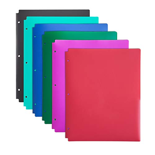 12 Pack Comix Plastic 2 Pocket Folders with 3 Hole, 6 Assorted Colors, Binder Folders with Pockets and Holes Letter Size for School and Office (Assorted Fashion Colors)