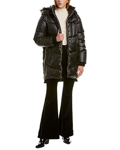 kensie Damen Faux Fur Trim Hooded Puffer Coat Alternativer Daunenmantel, schwarz, Small