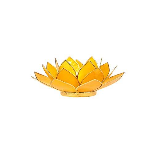 Portavelas de loto de concha de capiz para velas de té. Amarillo (3º chakra).