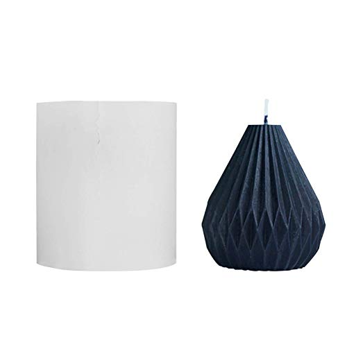 Silicone Candle Mold Geometric Line Pear Shaped Candle Mold Striped Tapered Silicone Mold DIY Candle Mould (01)