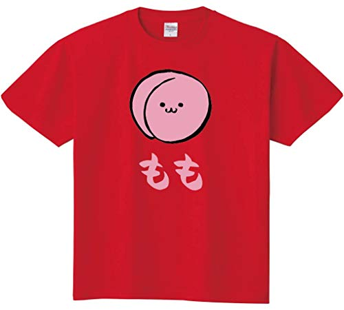 もも モモ 桃 野菜 果物 筆絵 イラスト カラー おもしろ Tシャツ 半袖 レッド XL