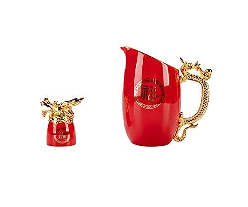 Creative Zodiac Signs, copa de vino blanco, juego de divisor de vino chino con caja de regalo para Acción de Gracias, inauguración de la casa, cumpleaños (caja de regalo de color rojo y negro)