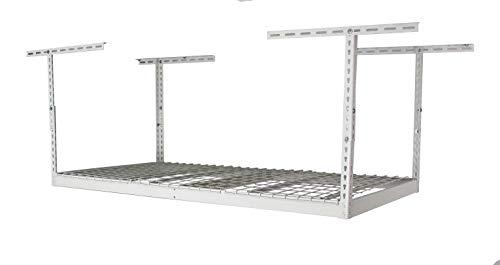 SafeRacks – 3x6 Overhead Garage Storage Rack - Height Adjustable Steel Overhead Storage Rack - 400 Pound Weight Capacity (White, 24'-45')