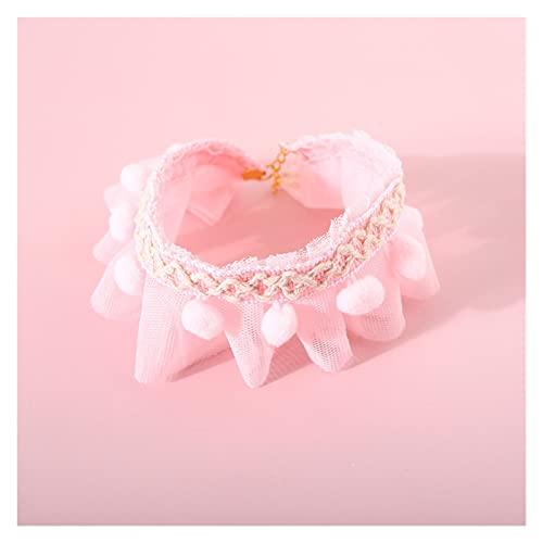 collar de gato Mascotas gato collar accesorios encantador fantasía babero peluche bola cachorro mascota gato y perro productos de dibujos animados rosa ajustable de lujo collar de pulgas para