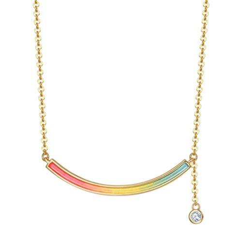 Holibanna Sonrisa Bar Collar para Mujer Arco Iris Collar Barra Colgante Sonrisa Collar para Niñas Joyería Regalos